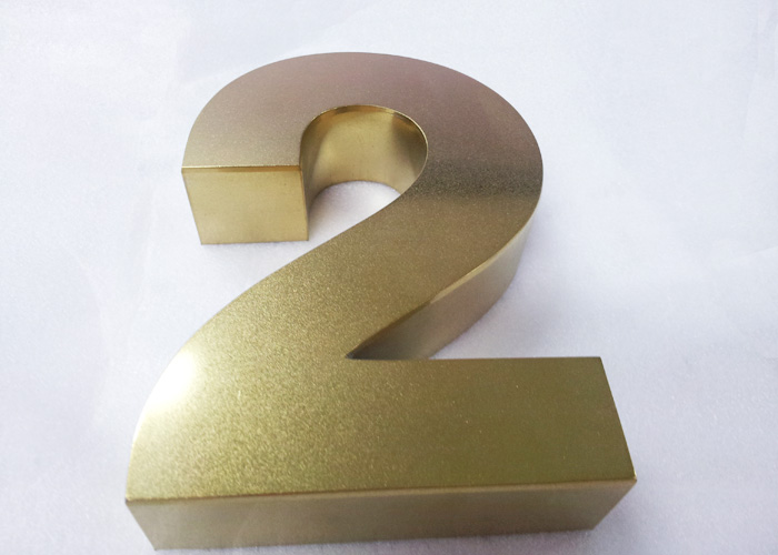 Stainless steel welded metal polished brass letter logo