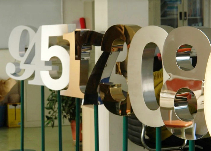Outdoor mirror polished galvanized stainless steel letter