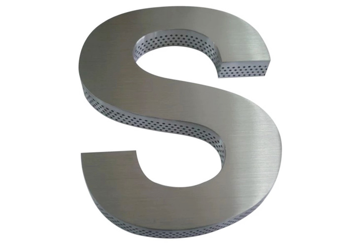 High-quality brushed stainless steel letters with perforated sides