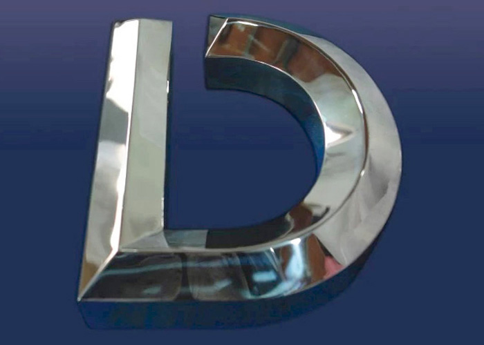 Stainless steel burnishing Three dimensional letter sign