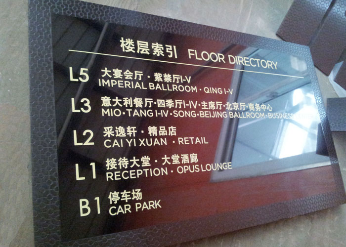 Wayfinding sign in hotel market