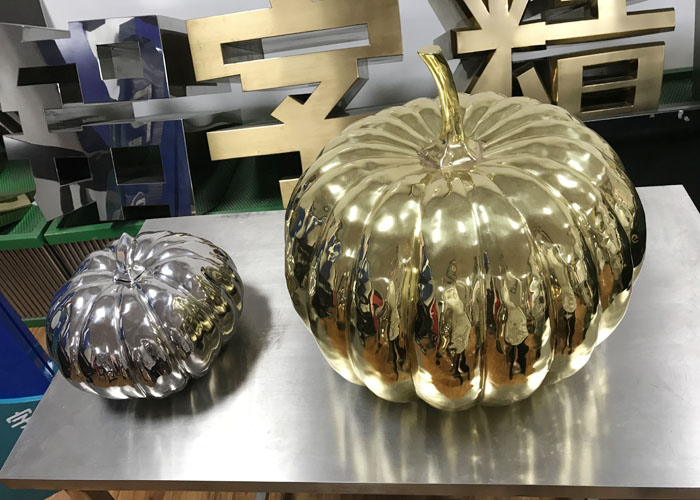 3d outdoor large art pumpkin metal stainless steel handicraft sculpture