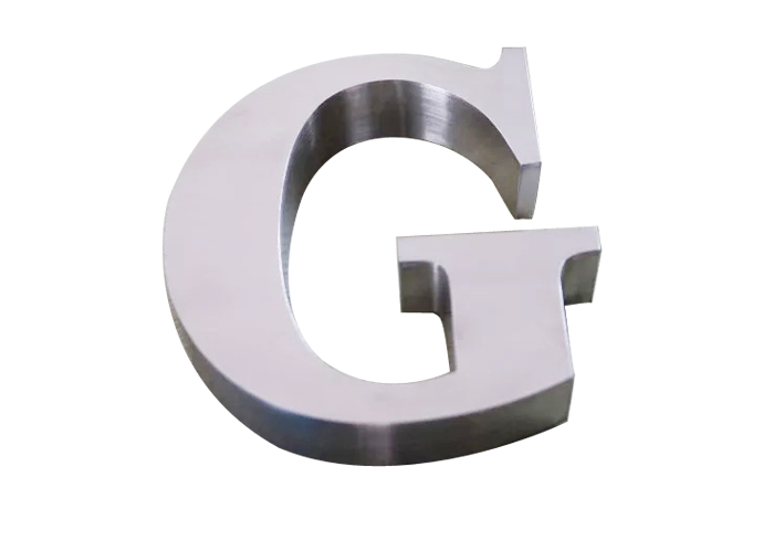 High-grade polished wall-mounted brushed stainless steel letters