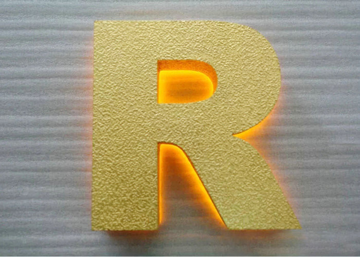 Stainless steel laser cutting the letter with gold foil finish