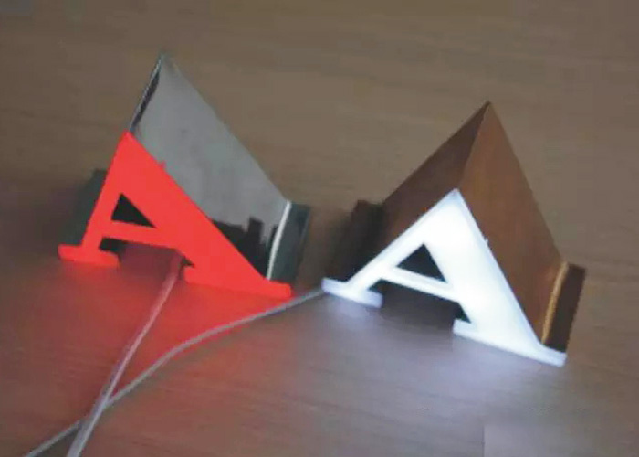 LED glowing frameless letter logo