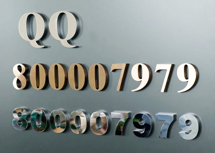 Wall-mounted solid galvanized stainless steel letters