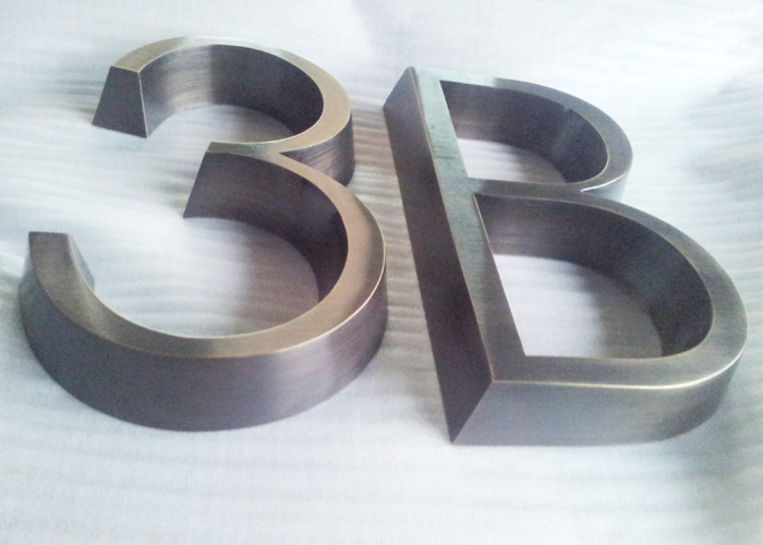3D seamless welded archaize stainless steel letter signs